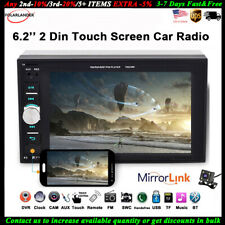 6.2'' 2 Din Car Radio Stereo Touch Screen  Mirror Link MP5 Player FM BT +Camera
