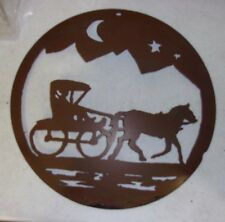 Primitive Hand Made Amish Art Wall Hanging Horse Buggy Metal Silhouette REDUCED!