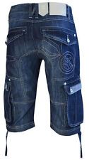 Uomo Crosshatch STILE MILITARE pantaloncini jeans kanaster - blu scuro