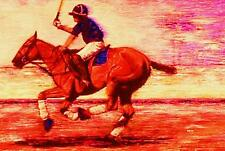 Giclee Horse Print Polo Down The Field artist Bets 6 Colors print size 14 X 19
