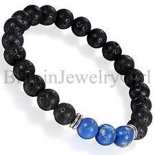 Men Women Black Lava Rock Stone Elastic Beaded Bracelet with 3 Imperial Jasper