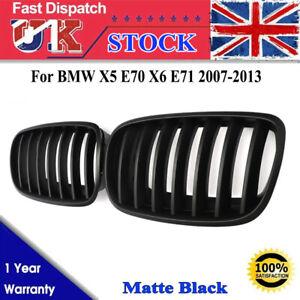 Pair Matte Black Front Sport Kidney Grille For BMW E70 X5 E71 X6 2007-2013 LCI
