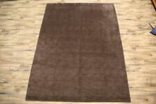NEW Contemporary SOLID BROWN Gabbeh Oriental Hand-Knotted WOOL 8x11 Area Rugs