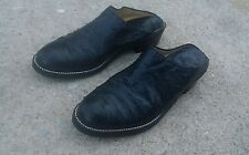 Vtg black ostrich handmade low heel mules slip on fits US 7