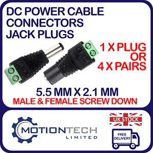 Male & Female 2.1 x 5.5mm DC Power Jack Plug Adapter Connector CCTV, LED, DVR