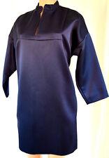 Celine Blue 3/4 Sleeves Priest Neck Silk Dress Size 46