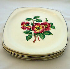 Paden City Pottery Set of 4 Square Salad Plates Red Floral Vintage USA