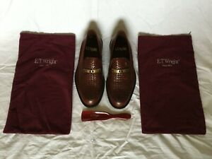 NOS Mens ET Wright Brown Woven Leather Loafers Size 8.5 EE Made in Italy