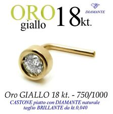 Piercing naso nose CASTONE piatto ORO GIALLO 18kt. DIAMANTE kt.0,040 yellow gold