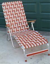 Vintage Mid Century Lounge Chair Webbing Style Wood Aluminum Lawn Folding Patio