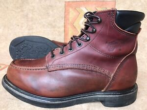 Vintage Red Wing USA Oxblood Leather Lace Up Work Chore Moc Toe Boots 9 H