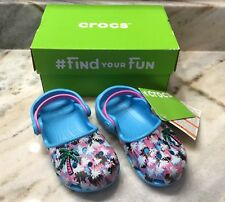 NEW! Crocs Karin Blue Multi Color Palm Tree Clogs Shoes ~ Toddler Girl Size 8