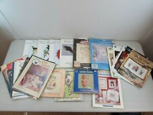 BUNDLE OF VINTAGE EMBROIDERY, TAPESTRY AND CROCHET DESIGNS AND KITS         #ET#