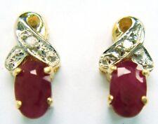 SYJEWELRYEMPIRE ELEGANT 10KT SOLID YELLOW GOLD RUBY & DIAMOND EARRINGS E823