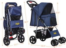 New listing Dog Pet Stroller for Small Medium Dogs & Cats Shock Absorption W/ 2 Cup Holders