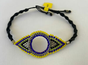 NEW Chan Luu Black Leather Seed Bead Silver Bar Wrap macrame Friendship Bracelet