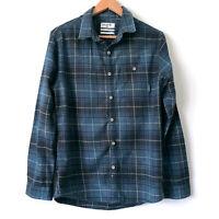 BILLABONG Mens Teal Black Flannel Tartan Plaid Button Up Long Sleeve Shirt SizeS
