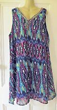 Jennifer Lauren Sleeveless Aztec print Swing Sun Dress BLUE plus size Holidays
