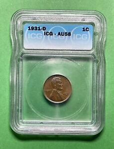 1931-D Lincoln Cent  - ICG - AU58.  Avidly Pursued Key Date.