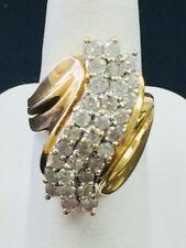 14k Yellow Gold Diamond Cluster Ring 1 Carat Size 7