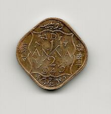 World Coins - India 1/2 Anna 1943 Coin KM# 534b