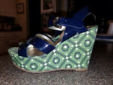 JUICY COUTURE WEDGE SANDALS BLUE GREEN STRAPPY SIZE 6 WOMENS