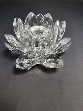 Swarovski Crystal Med. Lotus Flower/Lily Pad Candle Holder