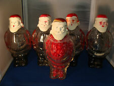 (Lot of 5) Vintage J. H. Millstein Santa Claus Glass Containers Jeannette PA