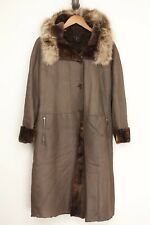 Stephen Womens Shearling Coat 42 6 Brown Sheepskin Full Length Fur Hood Italy