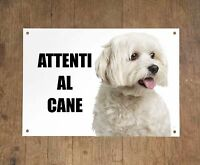 MALTESE attenti al cane mod 2 TARGA cartello CANE IN METALLO