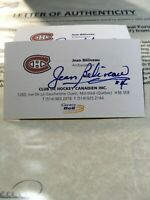 NHL Hockey Montreal Canadiens JEAN BELIVEAU'S Business Card Signed LOA
