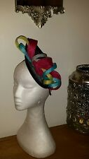 Black cerise pink silver citrus lime green & Turquoise fascinator wedding/races