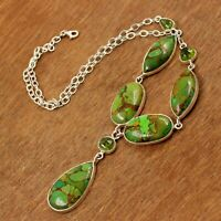 925 Sterling Silver Jewelry Copper Green Turquoise Gemstone Womens Gift Necklace