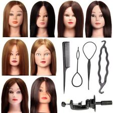Real Human Hair Training Practice Head Hairdressing Doll + Clamp + Braid Tool