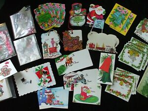 Vintage Christmas Gift Tags Package Label Glitter Bells Trains Horse Santa Candy