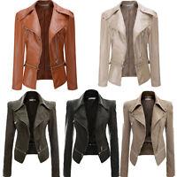 Plus Size Women PU Leather Motorcycle Short Biker Jacket Zipper Casual Outwear