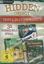 CD-ROM + Hidden Object + Tripple Play Package II + 3 Wimmelbild Spiele + Win 8