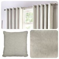 Fusion SORBONNE - Silver / Light Grey 100% Cotton Eyelet Curtains or Cushions