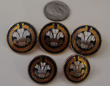 Royal Regiment of Wales Death Rather Than Dishonor 5 enamel Buttons Ich Dien