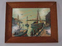 Vintage paint by numbers painting Ocean boats harbor scene 16 x 20 pbn