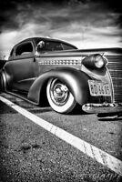 12x18 in. Garage Poster Vintage 1938 Chevrolet Coupe, Man Cave Art Hotrod Decor