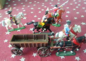 Vintage 1 1/2 inch painted metal mounted Cavalry Figures plus Suppy Wagon,horses