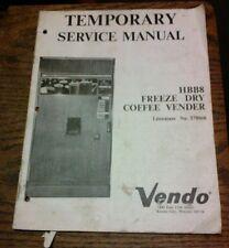Vendo HBB8 FREEZE DRY COFFEE VENDER Pinball Machine Manual - used original