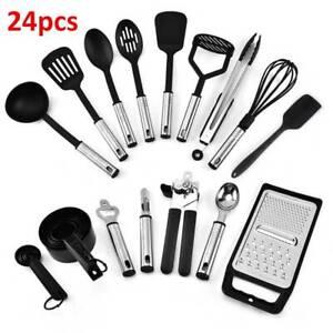 24Pcs Kitchen Silicone Cooking Utensils Set Non-stick Spatula Turner Black UK