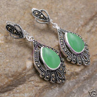 Vintage Style Sterling Silver 925 Green Jade Marcasite Drop Leverback Earrings