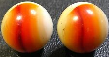 "Vintage Vitro agate Alligator eye's marbles Pair 21/32"" Rare! Look!"
