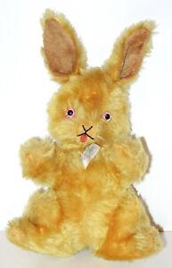 "RARE 1940's Mohair Knickerbocker 11"" Bunny Rabbit w/ Glass Eyes & Jointed Head"