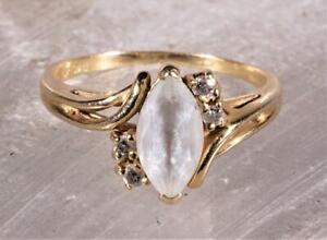 Aquamarine & Diamond Ring 14K Yellow Gold Size 6.75