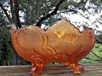 Antique Fenton Floral Topaz Footed Pedestal Jack in Pulpit Carnival Glass Bowl