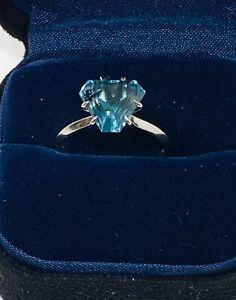 Estate GIA 3.15 Ct Natural Blue Triangle Trillion  Cut Tourmaline Platinum Ring